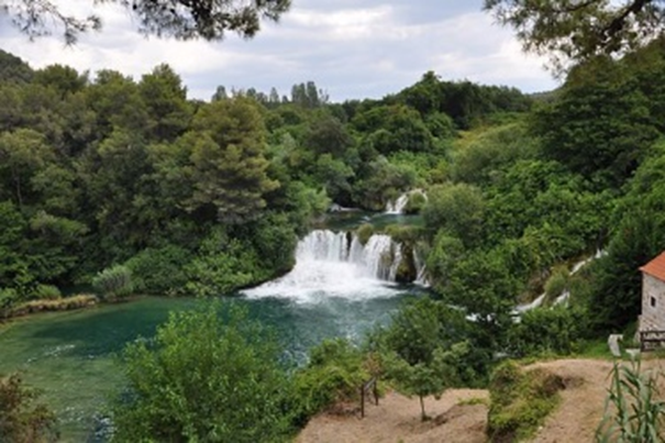 Krka national park and its' one of many lakes and waterfalls